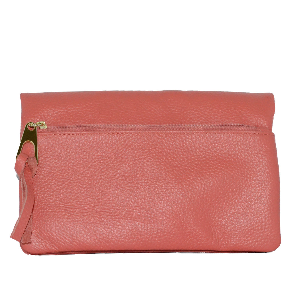 CREMORNE - Addison Road Ladies Coral Pink  Soft Pebbled Leather Fold Wallet - AllBags4u