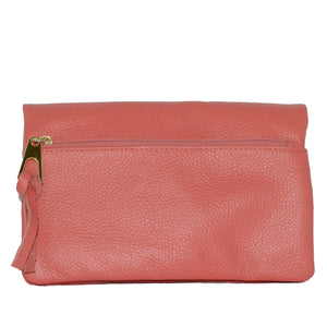 CREMORNE - Addison Road Coral Soft Pebbled Leather Fold Wallet - Belt N Bags