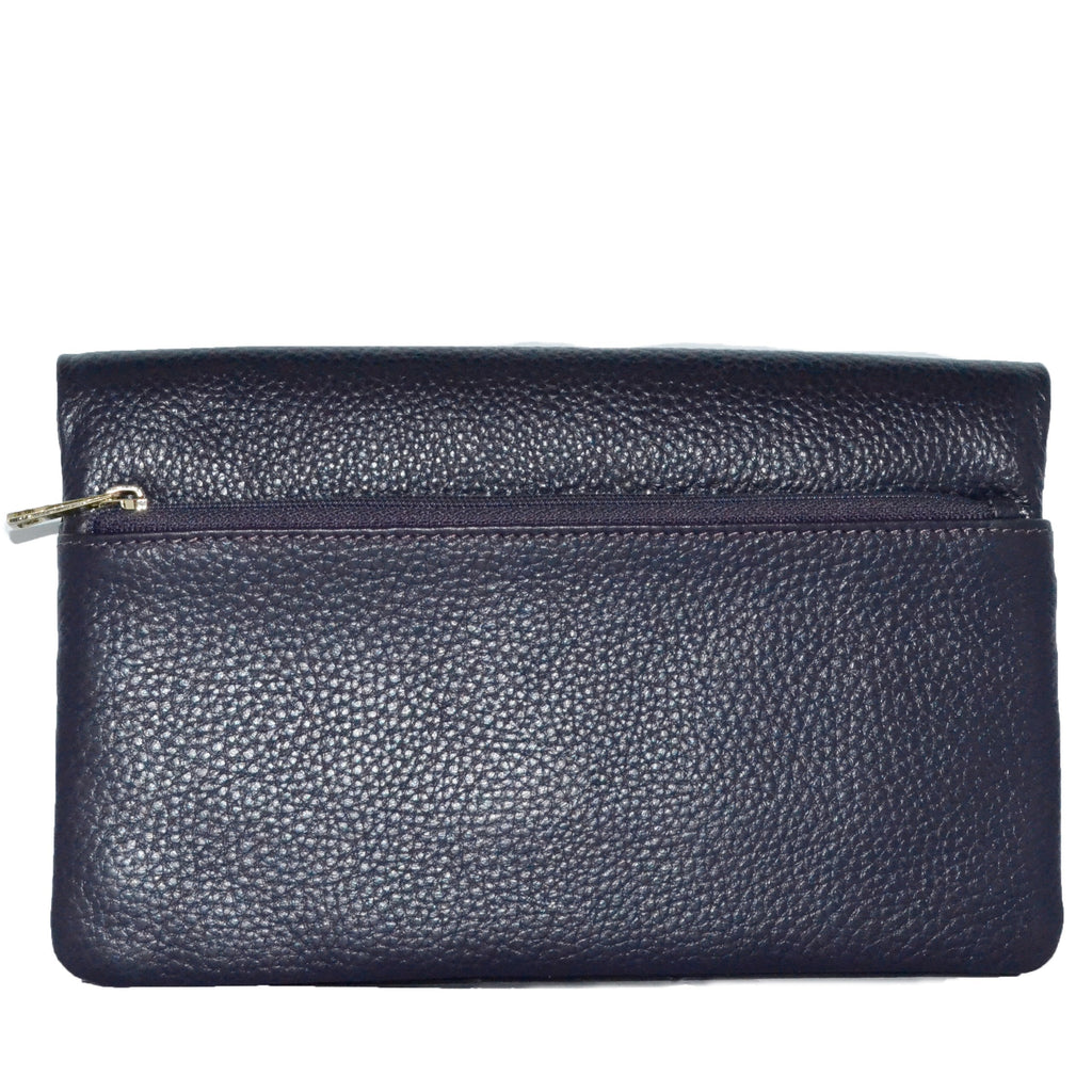 CREMORNE - Ladies Grape Purple Soft Pebbled Leather Fold Wallet - AllBags4u