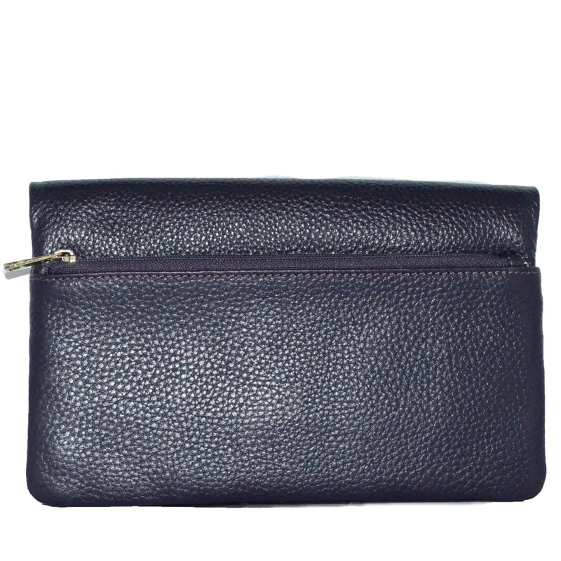 CREMORNE - Addison Road Grape Soft Pebbled Leather Fold Wallet - Belt N Bags