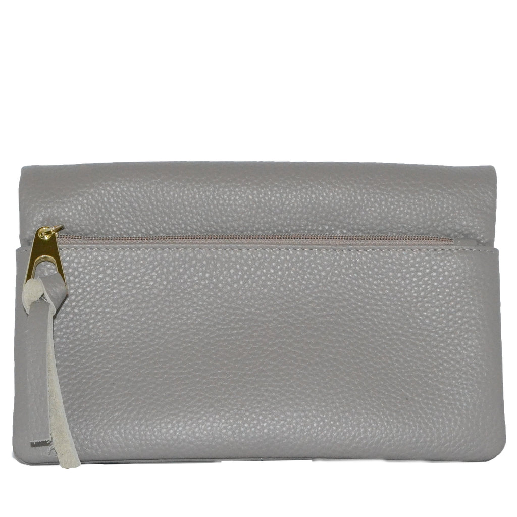 CREMORNE - Addison Road Grey Soft Pebbled Leather Fold Wallet - Belt N Bags