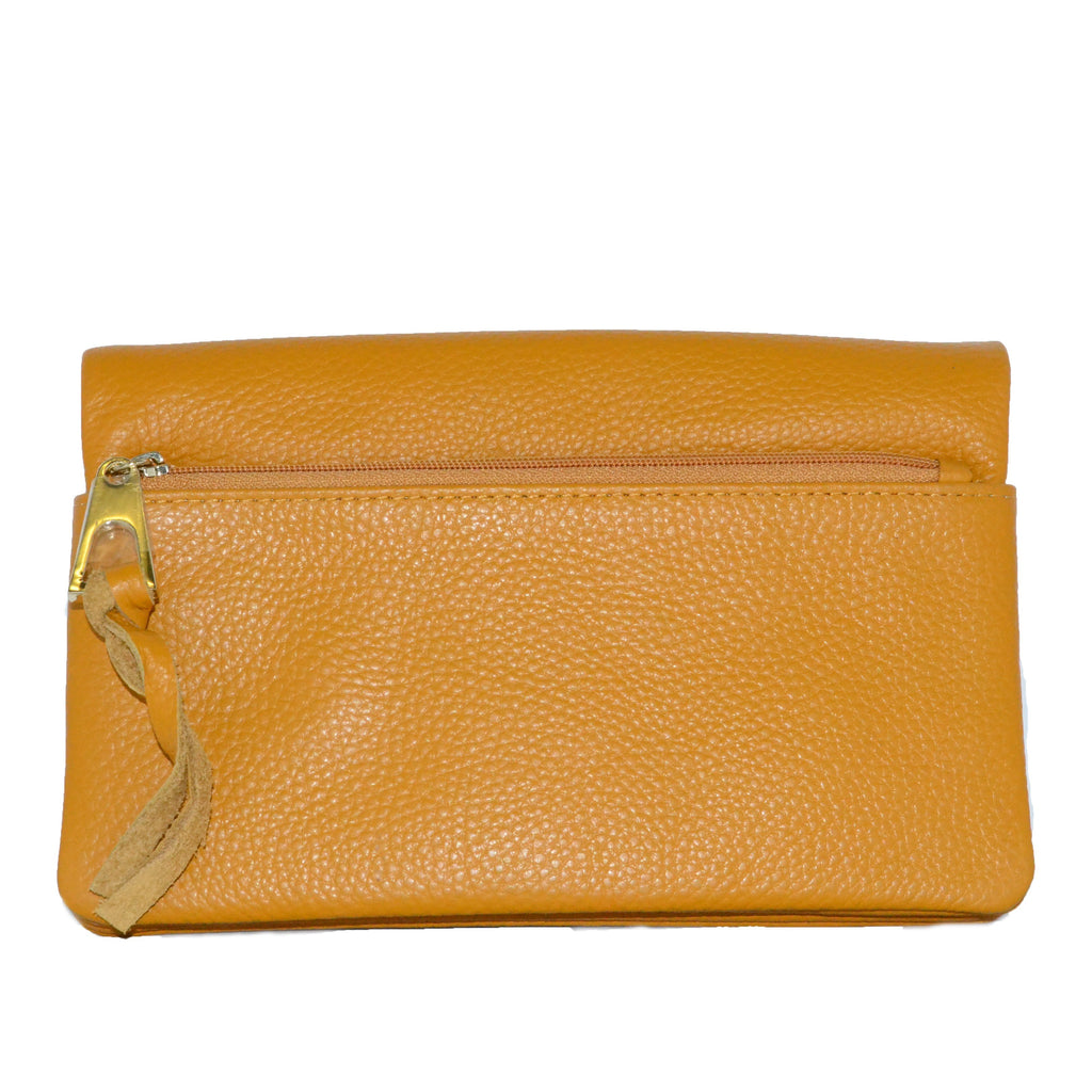 CREMORNE- Addison Road Mustard Soft Pebbled Leather Fold Wallet - Belt N Bags