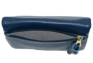 CREMORNE - Ladies Navy Blue Soft Pebbled Leather Fold Wallet - AllBags4u