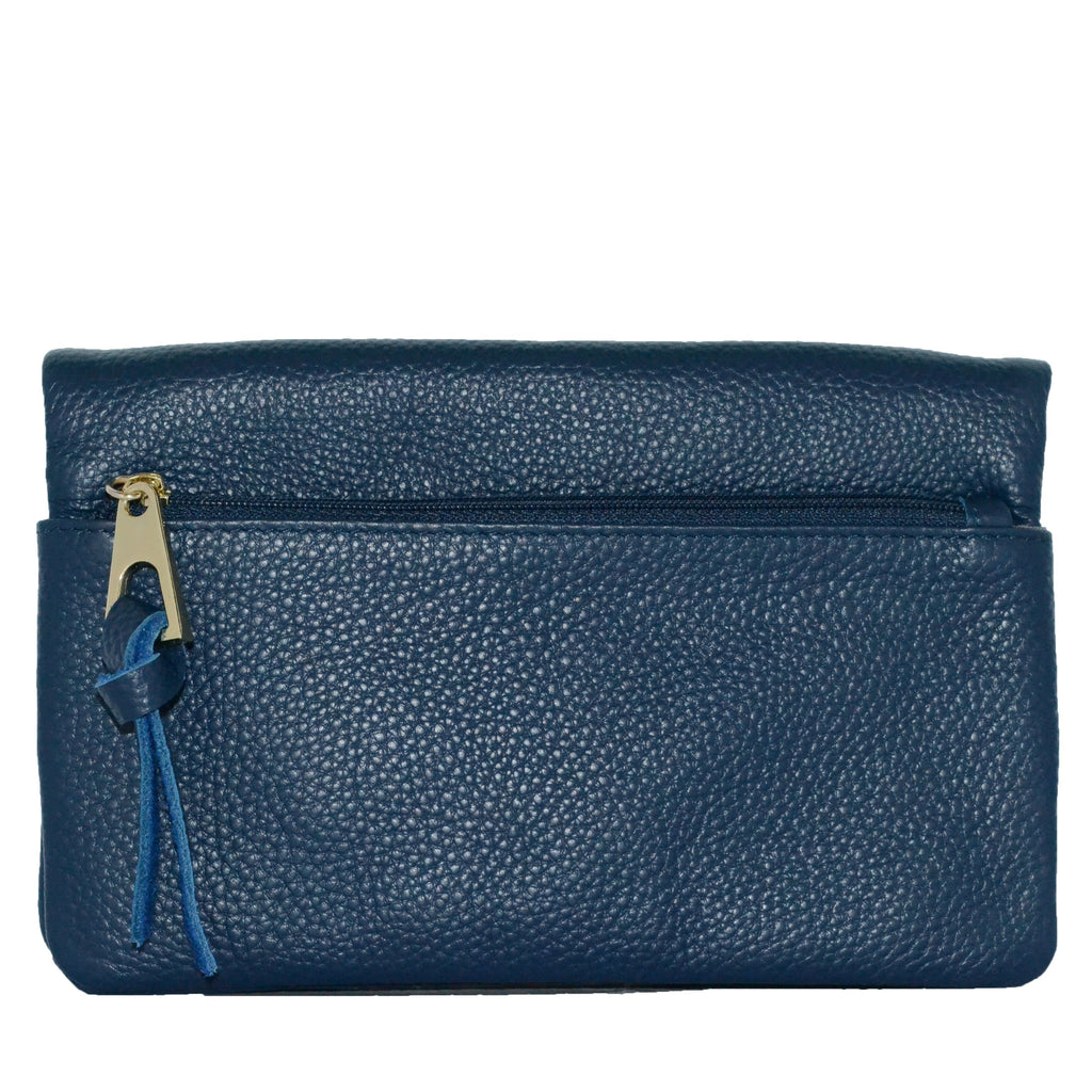 CREMORNE - Addison Road Navy Soft Pebbled Leather Fold Wallet - Belt N Bags