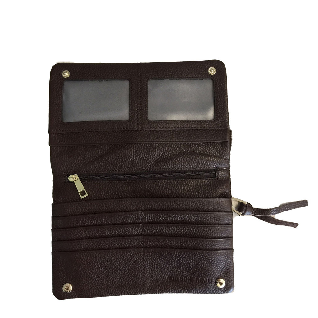 CREMORNE - Addison Road Natural Calf Hair and Chocolate Pebbled Leather Wallet