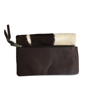 CREMORNE - Addison Road Natural Calf Hair and Chocolate Pebbled Leather Wallet - AllBags4u