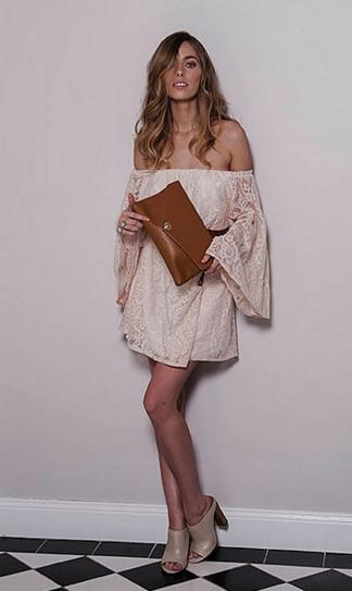 CENTENNIAL PARK - Tan Leather Envelope Bag Evening Clutch Purse - AllBags4u