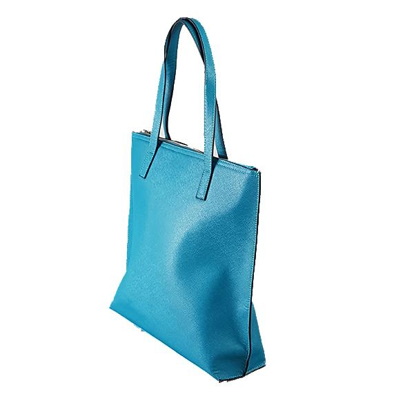 CHERMSIDE - Womens Teal Blue Structured Leather Shopper Tote Bag - AllBags4u
