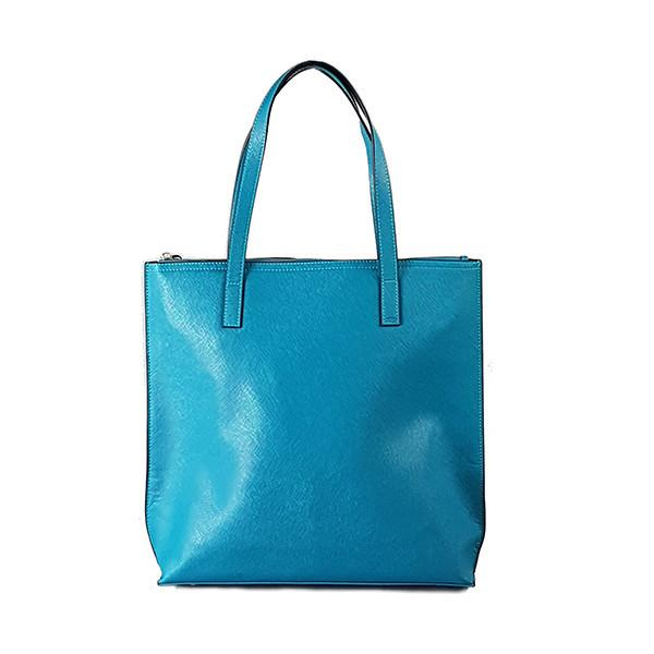 CHERMSIDE- Addison Road Teal Blue Structured Saffiano Shopper - Addison Road