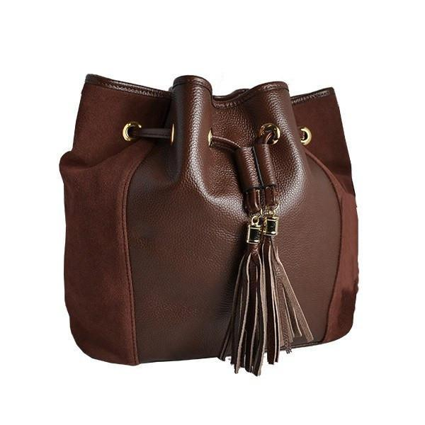 CLOVELLY - Brown Leather Suede Bucket Shoulder Bag with Tassel Detail - AllBags4u
