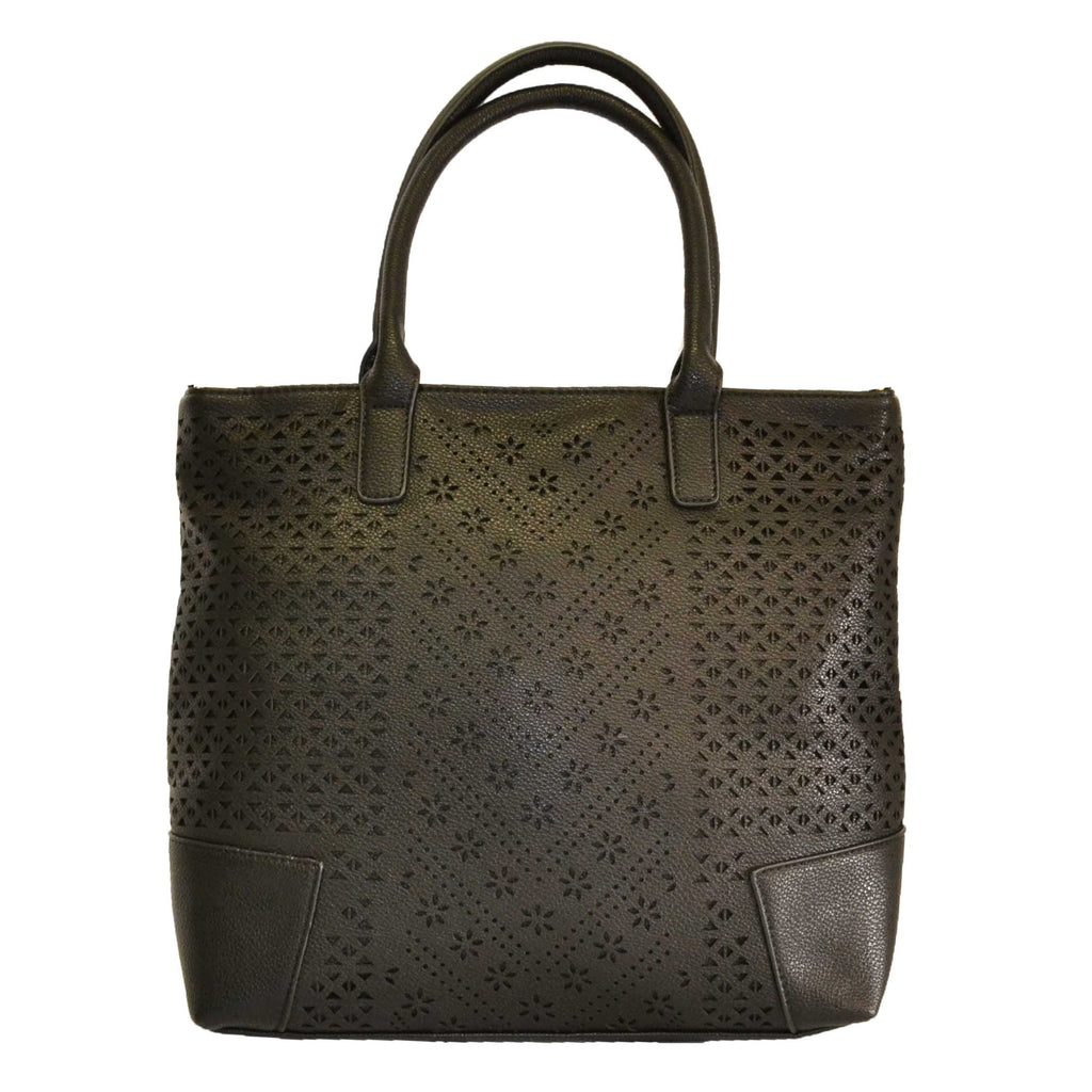 Callie - Black Faux Leather Laser Cut Style Tote - AllBags4u