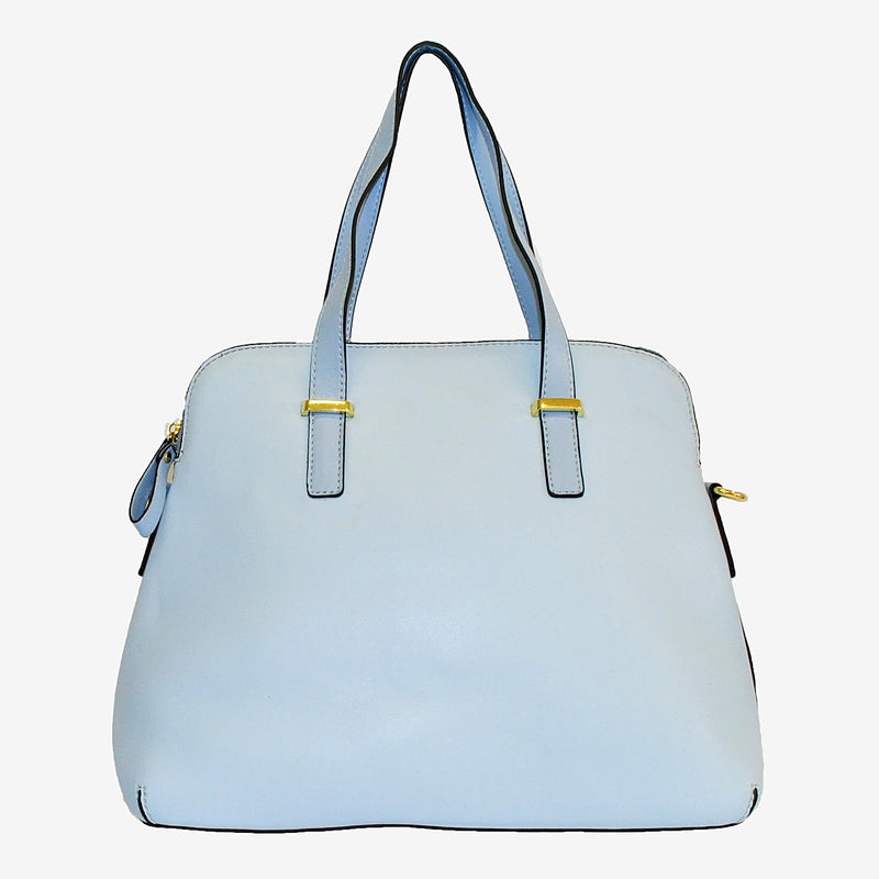 TINA - Light Blue Structured Faux Leather Handbag - AllBags4u