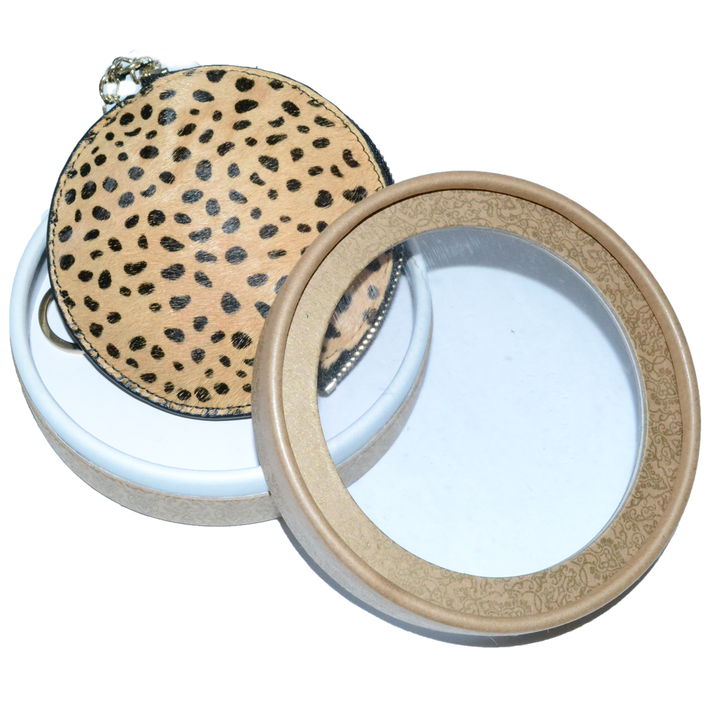 LORN- Ladies Leopard Calf Hair Key Ring Coin Purse in Gift Box - AllBags4u