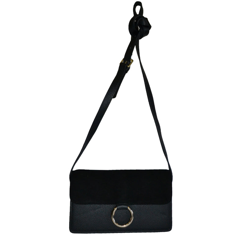 COBURG -  Black Pebbled Leather & Suede Mini Cross-body Shoulder Ring Bag - AllBags4u
