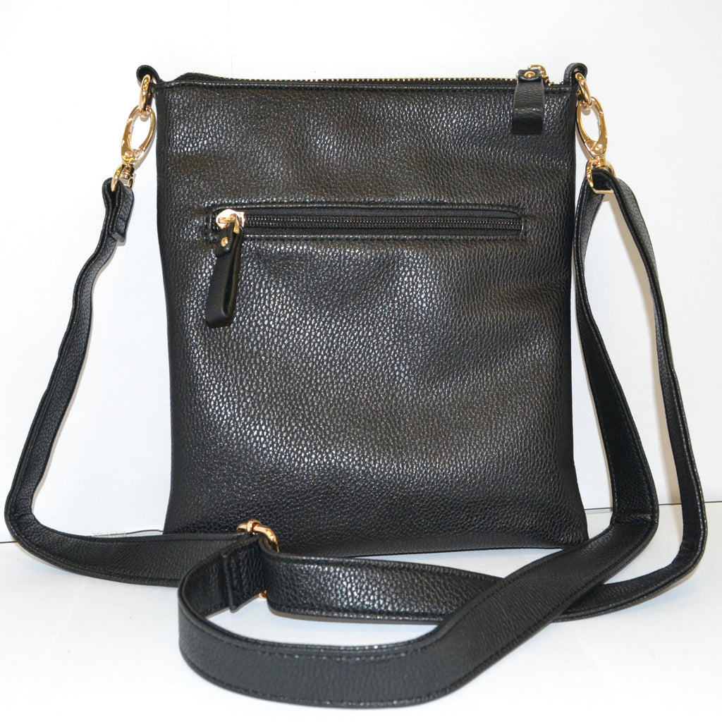 ZOE - Black Vegan Leather Shoulder Bag-Womens Bag-BeltNBags-BeltNBags