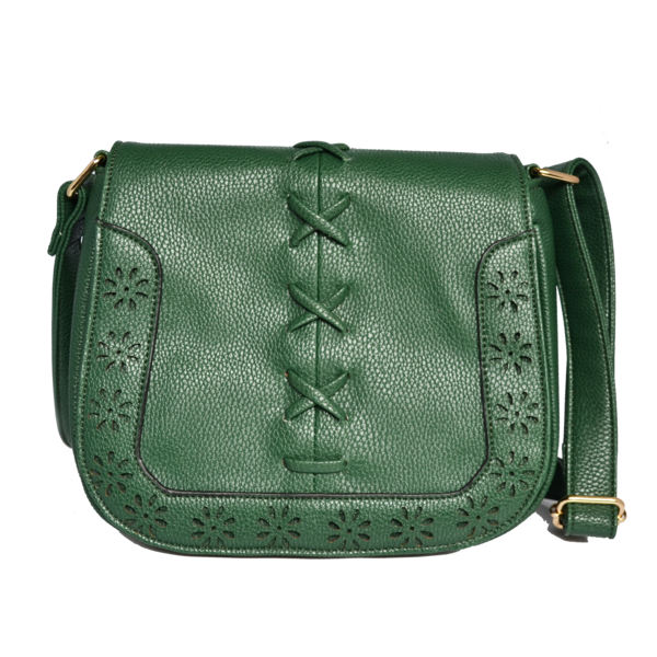 CAMELA - Green Faux Leather Saddle Shoulder Bag - AllBags4u