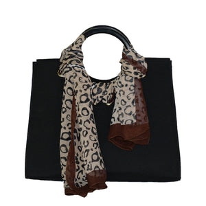 WENDY - Ring Handle Tote in Black Canvas - AllBags4u