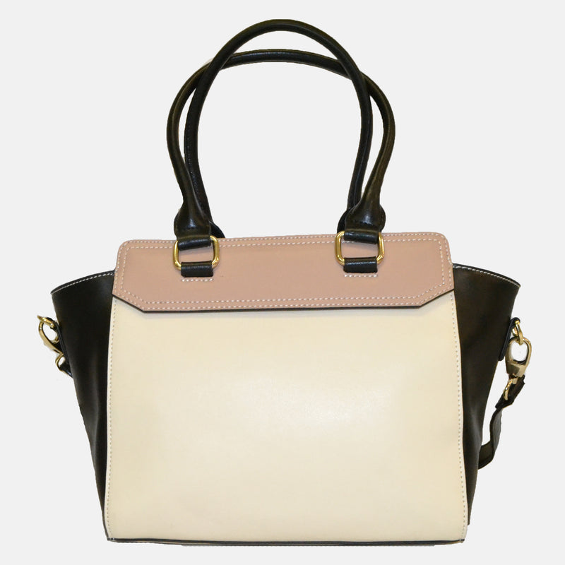 Limited Edition - Pink and Beige Mary Structured Panel Tote - AllBags4u