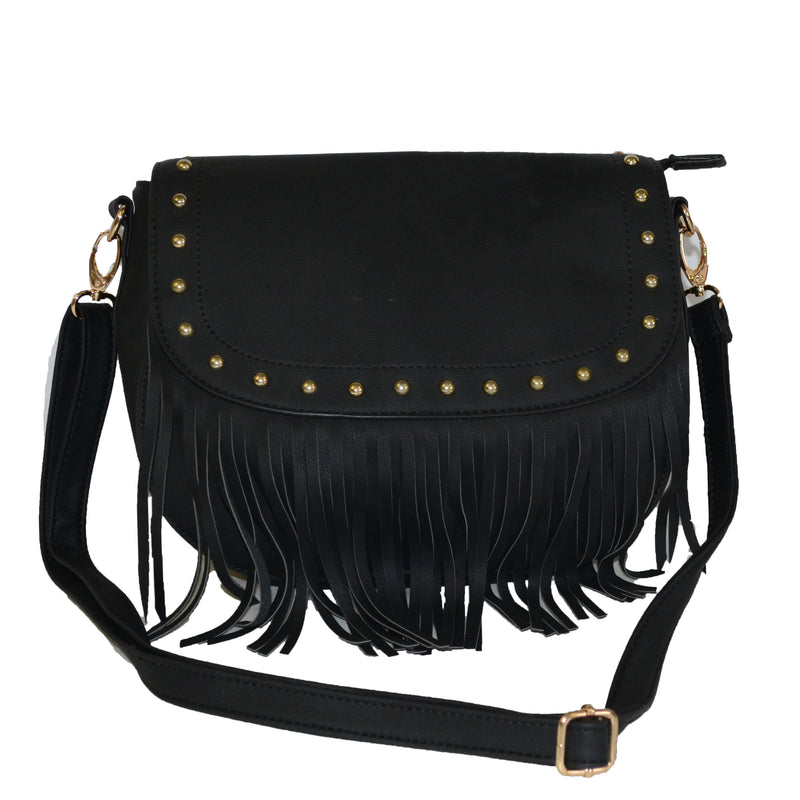 HELEN - Black Leather Bag - AllBags4u