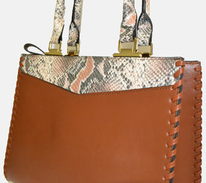 Limited Edition - Josefa Snakeskin Genuine Leather Structured Tote - AllBags4u