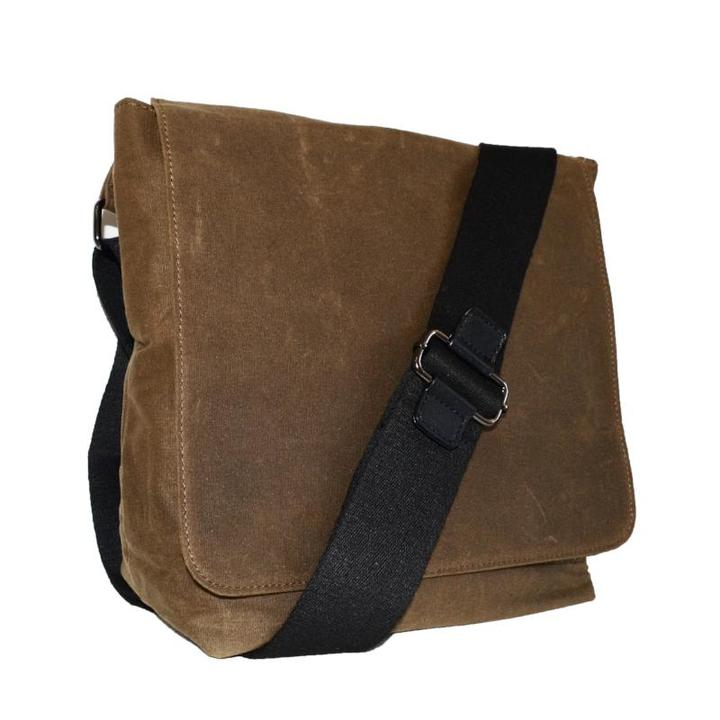 Spencer - Mens Brown Cotton Canvas Flat Shoulder Messenger Side Bag
