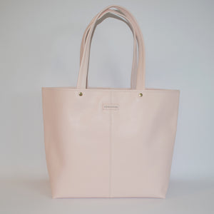 CORAL BAY-  Blush Soft Leather Shopper Tote Bag - AllBags4u