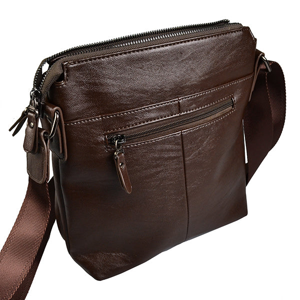 Darren  Mens Faux Leather Brown Reporter Messenger Crossbody Bag - AllBags4u
