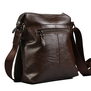 DARREN - Men's Faux Leather Brown Reporter Messenger Crossbody Bag - AllBags4u