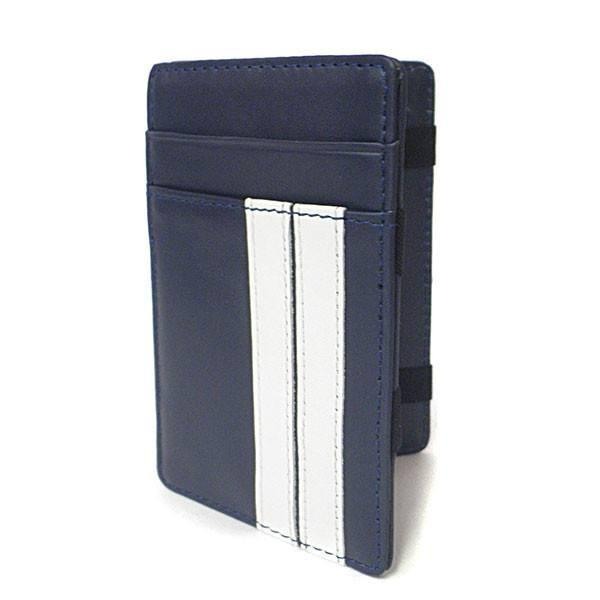 ELLIS - Mens Navy Genuine Leather Wallet Magic Flip Wallet with Stripes - AllBags4u