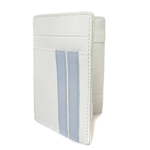 ELLIS - Mens White Genuine Leather Wallet Magic Flip Wallet with Stripes - AllBags4u