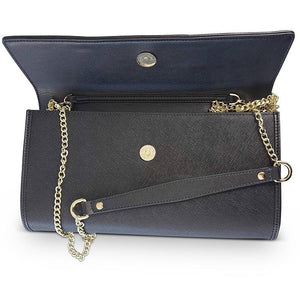 Eden - Ladies Black Structured Leather Ring Clutch Chain Shoulder Bag - AllBags4u