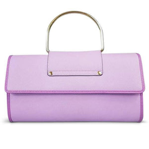 Eden - Ladies Purple Lilac Leather Ring Clutch Chain Shoulder Bag - AllBags4u