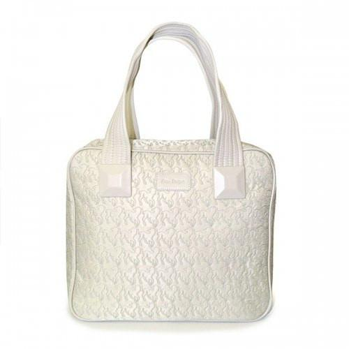 Farley - White Embroidered Lamb Design Overnighter Baby Handbag Tote - AllBags4u