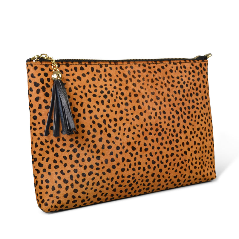 FITZROY- Addison Road - Leopard Print Calfhair Clutch - Addison Road