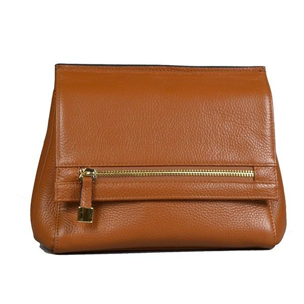 HUNTERS HILL-  Womens Tan Leather Crossbody Shoulder Clutch Bag - AllBags4u