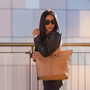 GLORIA - Ladies Vegan Leather Camel Tote Bag - BeltNBags