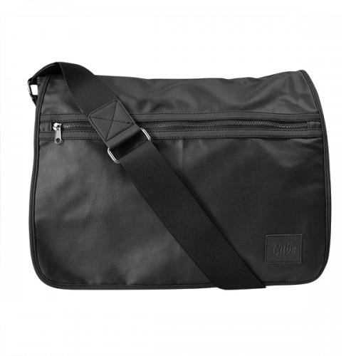 JAMIESON - Mens Black Faux Leather Messenger Bag - AllBags4u