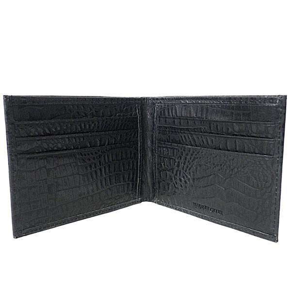 KENDRICK - Mens Black Leather Think Crocodile Cardholder Wallet - AllBags4u