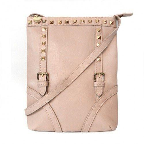 Kara  Nude Pink Faux Leather Crossbody - AllBags4u