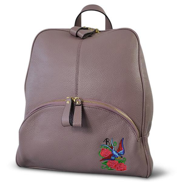 Kingscliff -  Ladies Lilac Genuine Leather Backpack with Bird Embroidery - AllBags4u