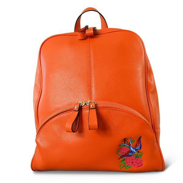 Kingscliff - Ladies Orange Genuine Leather Backpack with Bird Embroidery - AllBags4u