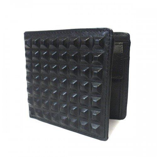 LACHLAN - Men's Black Genuine Leather Spike Wallet in Gift Box - AllBags4u