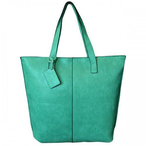Lorraine  Womens Green Faux Leather Tote Shopper - AllBags4u