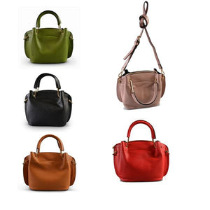 Lucy - Tan Faux Leather Soft Handle Mini Bag - AllBags4u