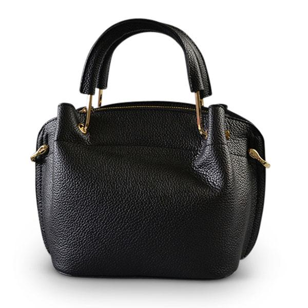 Lucy - Black Faux Leather Soft Handle Mini Bag - AllBags4u