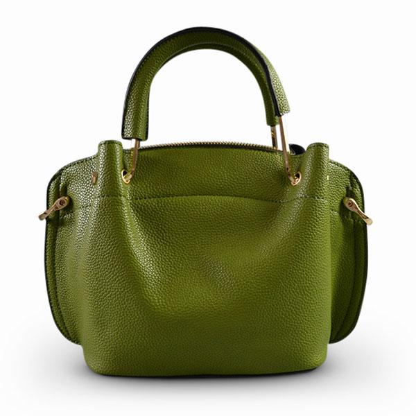 Lucy - Green Faux Leather Soft Handle Mini Bag - AllBags4u