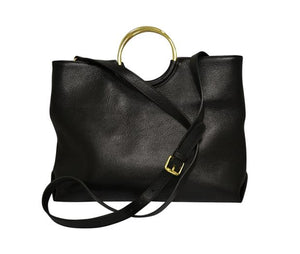 Black Millfield Structured Leather Ring Handle Bag - BeltNBags