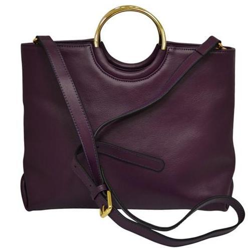 Grape Millfield Structured Leather Ring Handle Bag - BeltNBags
