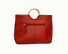 Millfield - Addison Road Red Leather Round Handle Tote Shoulder Bag - AllBags4u