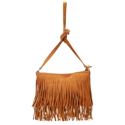 Mosman Womens Tan Boho Tassel Crossbody Bag - AllBags4u
